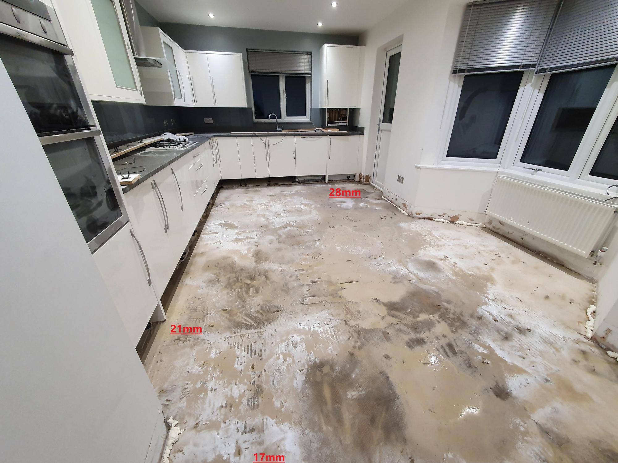 Complex kitchen floor tiling repair job. uneven floor. what should ...